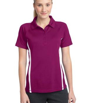 Sport-Tek LST685 Ladies PosiCharge Micro-Mesh Colorblock Polo Pink Rush/White