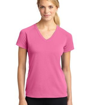Sport-Tek LST700 Ladies Ultimate Performance V-Neck Bright Pink