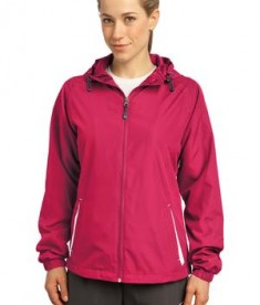 Sport-Tek LST76 Ladies Colorblock Hooded Raglan Jacket Pink Raspberry/White