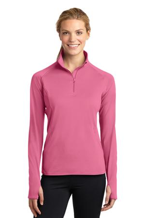 Sport-Tek LST850 Ladies Sport-Wick Stretch 1/2-Zip Pullover Dusty Rose