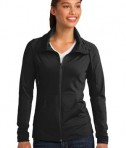 Sport-Tek LST852 Ladies Sport-Wick Stretch Full-Zip Jacket Black