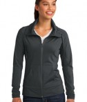 Sport-Tek LST852 Ladies Sport-Wick Stretch Full-Zip Jacket Charcoal Grey