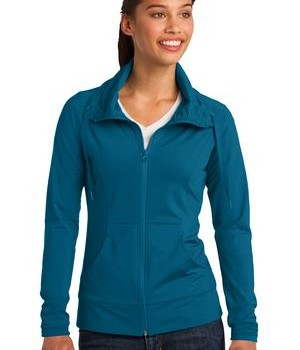 Sport-Tek LST852 Ladies Sport-Wick Stretch Full-Zip Jacket Peacock Blue