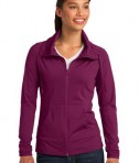 Sport-Tek LST852 Ladies Sport-Wick Stretch Full-Zip Jacket Pink Rush
