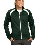 Sport-Tek LST90 Ladies Tricot Track Jacket Forest Green/White