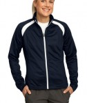 Sport-Tek LST90 Ladies Tricot Track Jacket True Navy/White