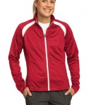 Sport-Tek LST90 Ladies Tricot Track Jacket True Red/White