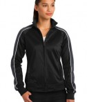 Sport-Tek LST92 Ladies Piped Tricot Track Jacket Black/Iron Grey/White