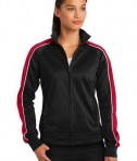 Sport-Tek LST92 Ladies Piped Tricot Track Jacket Black/True Red/White
