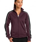 Sport-Tek LST92 Ladies Piped Tricot Track Jacket Maroon/Black/White