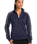 Sport-Tek LST92 Ladies Piped Tricot Track Jacket Navy/Iron Grey/White