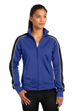 Sport-Tek LST92 Ladies Piped Tricot Track Jacket True Royal/Black/White