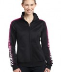Sport-Tek LST93 Ladies Dot Sublimation Tricot Track Jacket Black/Pink Raspberry