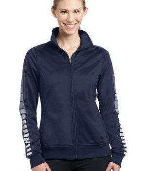 Sport-Tek LST93 Ladies Dot Sublimation Tricot Track Jacket True Navy/Iron Grey