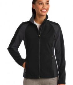 Sport-Tek LST970 Ladies Colorblock Soft Shell Jacket Black/Iron Grey