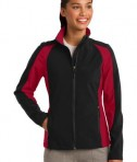 Sport-Tek LST970 Ladies Colorblock Soft Shell Jacket Black/True Red