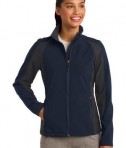 Sport-Tek LST970 Ladies Colorblock Soft Shell Jacket True Navy/Iron Grey