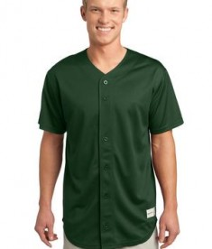 Sport-Tek ST220 PosiCharge Tough Mesh Full-Button Jersey Forest Green