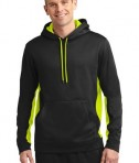 Sport-Tek ST235 Sport-Wick Fleece Colorblock Hooded Pullover Black/Safety Yellow