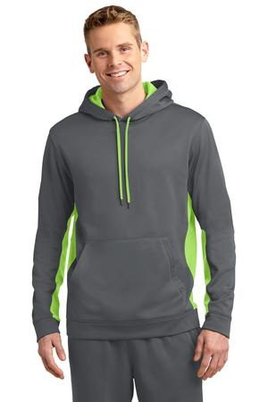 Sport-Tek ST235 Sport-Wick Fleece Colorblock Hooded Pullover Dark Smoke Grey/Lime Shock