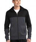 Sport-Tek ST245 Tech Fleece Colorblock Full-Zip Hooded Jacket Black/Graphite Heather/Black