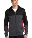 Sport-Tek ST245 Tech Fleece Colorblock Full-Zip Hooded Jacket Black/Graphite Heather/True Red