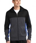 Sport-Tek ST245 Tech Fleece Colorblock Full-Zip Hooded Jacket Black/Graphite Heather/True Royal