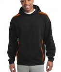 Sport-Tek ST265 Sleeve Stripe Pullover Hooded Sweatshirt Black/Deep Orange