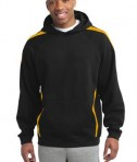 Sport-Tek ST265 Sleeve Stripe Pullover Hooded Sweatshirt Black/Gold