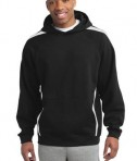 Sport-Tek ST265 Sleeve Stripe Pullover Hooded Sweatshirt Black/White