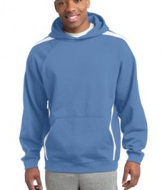 Sport-Tek ST265 Sleeve Stripe Pullover Hooded Sweatshirt Carolina Blue/White