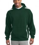 Sport-Tek ST265 Sleeve Stripe Pullover Hooded Sweatshirt Forest Green/White