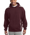 Sport-Tek ST265 Sleeve Stripe Pullover Hooded Sweatshirt Maroon/White