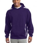 Sport-Tek ST265 Sleeve Stripe Pullover Hooded Sweatshirt Purple/White
