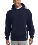Sport-Tek ST265 Sleeve Stripe Pullover Hooded Sweatshirt True Navy/White