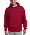 Sport-Tek ST265 Sleeve Stripe Pullover Hooded Sweatshirt True Red/Black