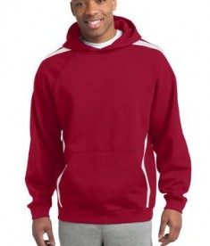 Sport-Tek ST265 Sleeve Stripe Pullover Hooded Sweatshirt True Red/White