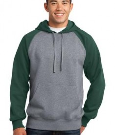 Sport-Tek ST267 Raglan Colorblock Pullover Hooded Sweatshirt Forest Green/Vintage Heather