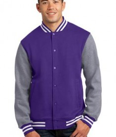 Sport-Tek ST270 Fleece Letterman Jacket Purple/Vintage Heather