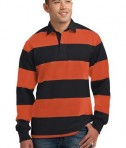 Sport-Tek ST300 Long Sleeve Rugby Polo Black/Deep Orange