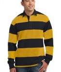 Sport-Tek ST300 Long Sleeve Rugby Polo Black/Gold