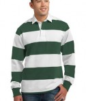 Sport-Tek ST300 Long Sleeve Rugby Polo Forest Green/White