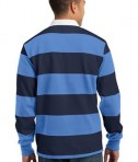 Sport-Tek ST300 Long Sleeve Rugby Polo True Navy/Carolina Blue Back