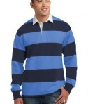 Sport-Tek ST300 Long Sleeve Rugby Polo True Navy/Carolina Blue