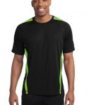 Sport-Tek TST351 Tall Colorblock PosiCharge Competitor Tee Black/Lime Shock
