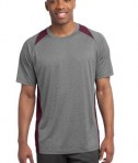 Sport-Tek ST361 Heather Colorblock Contender Tee Vintage Heather Maroon