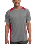 Sport-Tek ST361 Heather Colorblock Contender Tee Vintage Heather True Red