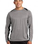Sport-Tek ST361LS Long Sleeve Heather Colorblock Contender Tee Vintage Heather/Black