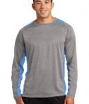 Sport-Tek ST361LS Long Sleeve Heather Colorblock Contender Tee Vintage Heather/Carolina Blue