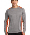 Sport-Tek ST361LS Long Sleeve Heather Colorblock Contender Tee Vintage Heather/Deep Orange